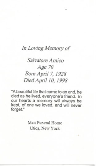 Back of card for funeral