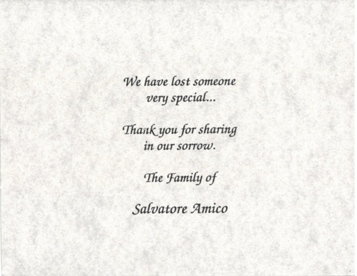 Inside of Funeral Card