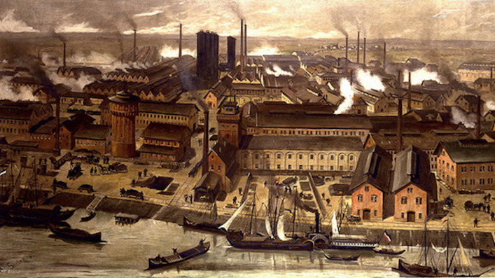 The BASF-chemical factories in Ludwigshafen, Germany, 1881.