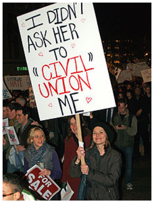 A woman makes her support of her marriage, and not civil unions, known.